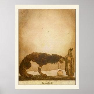 Tyr und Fenrir durch John Bauer Poster