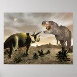 Tyrannosaurus, der am Triceratops brüllt - 3D Poster