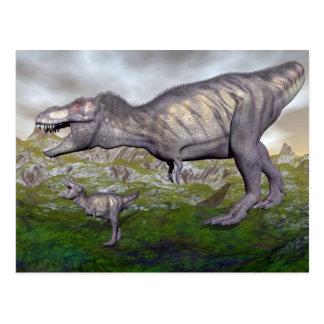 Tyrannosaurus rex Dinosauriermama und Baby 3D Postkarte