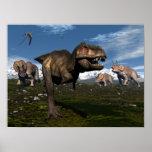 Tyrannosaurus rex in Angriff genommen durch Poster