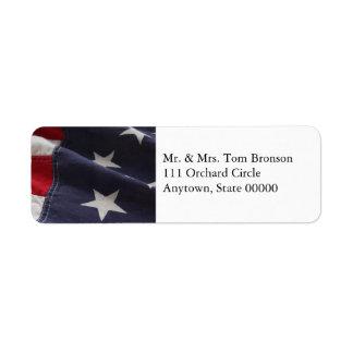 U.S. nahes hohes Adressen-Etikett der Flagge