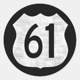 U.S. Signe d'itinéraire de la route 61 Sticker Rond