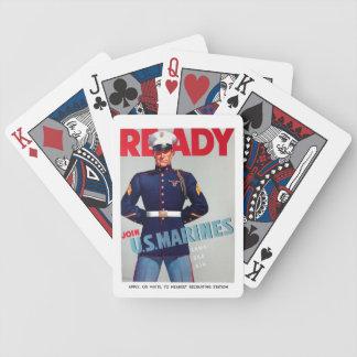 """U.S. Vintagen die Marinekorps """"bereiten"""" Plakat vo Bicycle Spielkarten"""