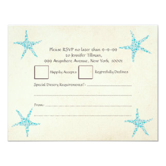 UAWG, das Türkis-AquaStarfish Wedding ist 10,8 X 14 Cm Einladungskarte