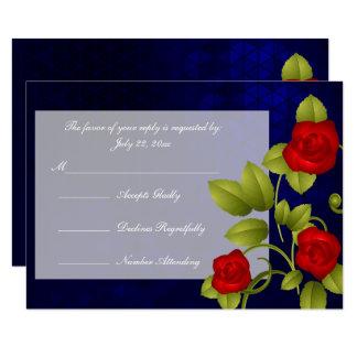 UAWG dunkelblau und Rosen-Hochzeit Karte