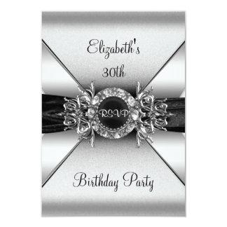UAWG Geburtstags-Diamant-Juwel-Schwarz-weißes 8,9 X 12,7 Cm Einladungskarte