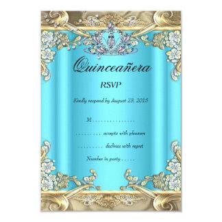 UAWG Quinceanera blaues Aqua-aquamarines Gold15. 8,9 X 12,7 Cm Einladungskarte
