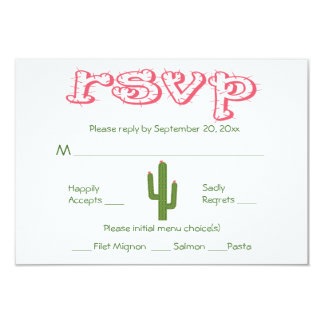 UAWG rosa u. grüne Kaktus-Party-Hochzeits-Antwort 8,9 X 12,7 Cm Einladungskarte