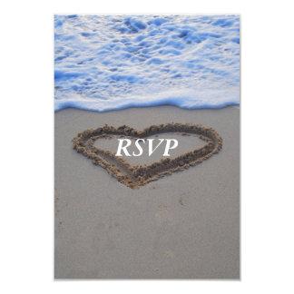 UAWG Strand-Hochzeits-Herz im Sand 8,9 X 12,7 Cm Einladungskarte