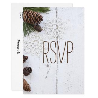 UAwg-Winter Pinecone und Wedding Schneeflocken 8,9 X 12,7 Cm Einladungskarte