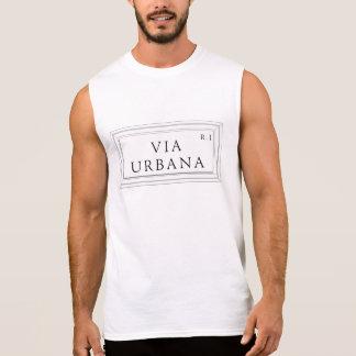 Über Urbana Rom-Straßenschild Ärmelloses Shirt