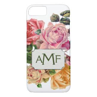 Übergroße viktorianische Rosen u. mit Monogramm iPhone 7 Hülle