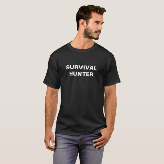 Überlebens-Jägerschwarz-T - Shirt mit weißem Text