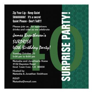 ÜBERRASCHEN Sie 40 Geburtstags-modernes grünes Einladungskarten