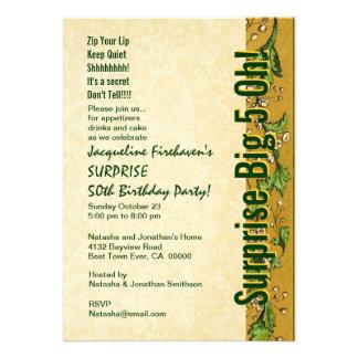 ÜBERRASCHEN Sie 50 Geburtstags-Goldgrün B381 Einladungen