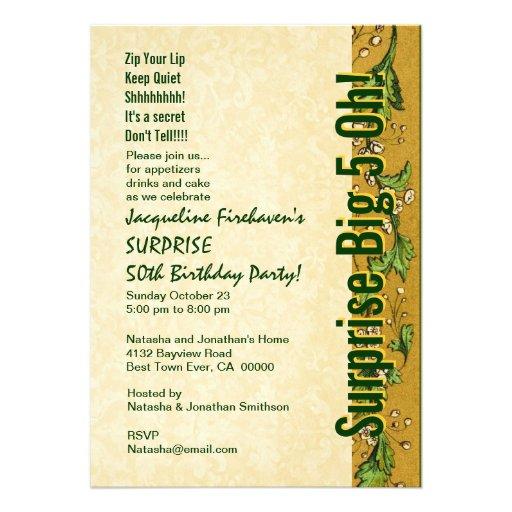 ÜBERRASCHEN Sie 50. Geburtstags-Goldgrün B381 Einladungen