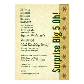 ÜBERRASCHEN Sie 50. Geburtstags-Goldgrün-Sterne 12,7 X 17,8 Cm Einladungskarte