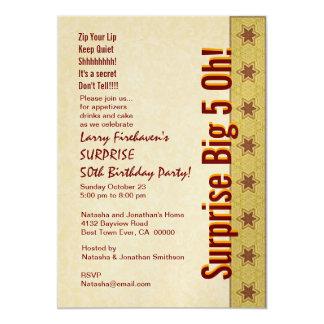 ÜBERRASCHEN Sie 50. Geburtstags-Goldrote Sterne 12,7 X 17,8 Cm Einladungskarte