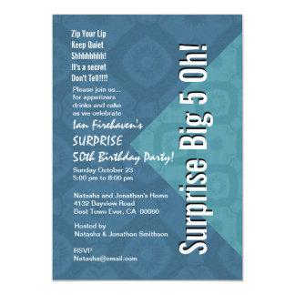 ÜBERRASCHEN Sie 50. Geburtstags-Stahlblau und Aqua 12,7 X 17,8 Cm Einladungskarte