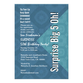 ÜBERRASCHEN Sie 50 Geburtstags-Stahlblau und Aqua Individuelle Einladung