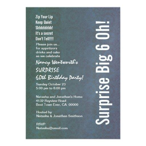 ÜBERRASCHEN Sie 60. Geburtstags-Party-Vintages Personalisierte Ankündigungskarte