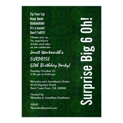 ÜBERRASCHEN Sie 60. Geburtstags-Party-Vintages Einladungskarten