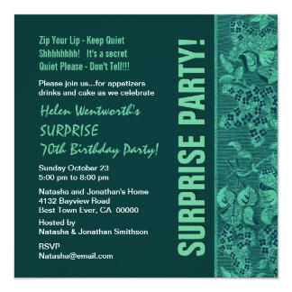 ÜBERRASCHEN Sie 70. Geburtstags-modernes Quadratische 13,3 Cm Einladungskarte