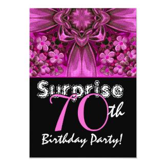 ÜBERRASCHEN Sie 70. Geburtstags-Rosa-Bogen und 12,7 X 17,8 Cm Einladungskarte