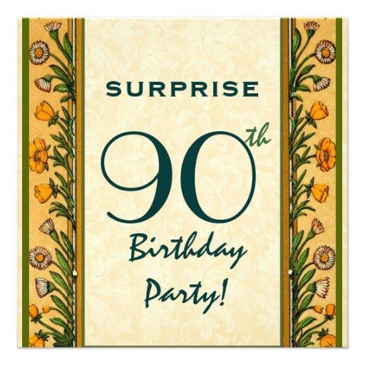ÜBERRASCHEN Sie 90. Geburtstags-GoldVintage Blumen Personalisierte Ankündigung