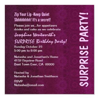 ÜBERRASCHUNG Geburtstags-Party-Wein und rosa Quadratische 13,3 Cm Einladungskarte
