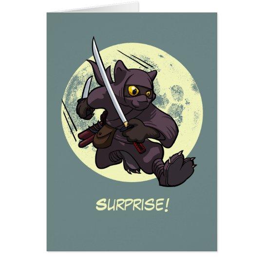 Überraschung! Schwarze Katze Ninja Grußkarte