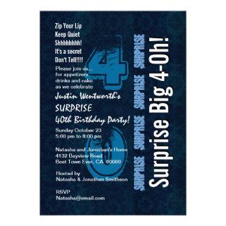 Überraschungs-Geburtstags-Jahr-blaues Vintages und Individuelle Einladungskarte
