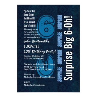 Überraschungs-Geburtstags-Jahr-blaues Vintages und 12,7 X 17,8 Cm Einladungskarte
