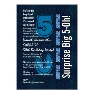 Überraschungs-Geburtstags-Jahr-blaues Vintages und Individuelle Ankündigung