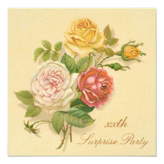 Überraschungs-Geburtstags-Partychic-Vintage Rosen Quadratische 13,3 Cm Einladungskarte