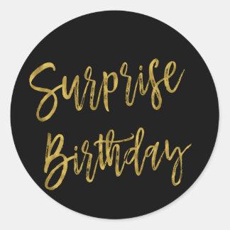 Überraschungs-Goldfolien-Geburtstags-Aufkleber Runder Aufkleber