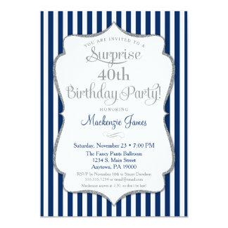 Überraschungs-Party Einladungs-Marine-Blau-Silber Karte