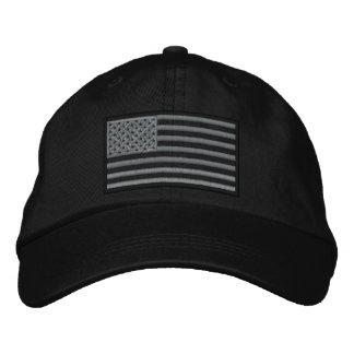 Überwundener US-Flagge gestickter Hut (Schwarzes)