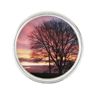 Überzogenes Revers-Button des Sonnenuntergangbaums Anstecknadel