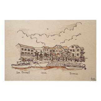 Ufergegend-Hafen, Heiliges-Florent | Korsika, Holzwanddeko
