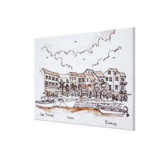 Ufergegend-Hafen, Heiliges-Florent | Korsika, Leinwanddruck