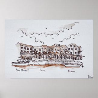 Ufergegend-Hafen, Heiliges-Florent | Korsika, Poster