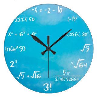 Uhr - blaue Mathe-Wanduhr
