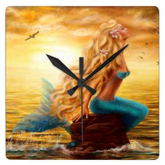 Uhr-Meerjungfrau Quadratische Wanduhr