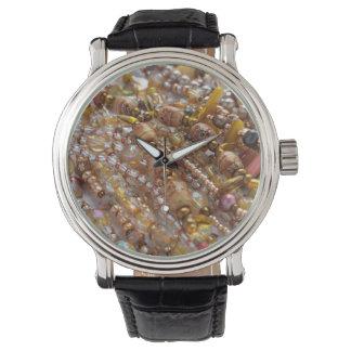 Uhr-natürliche Erdtöne, Perlen-Druck Uhr