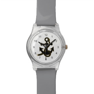 Uhr - schwarzer Anker auf Weiß