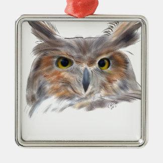 Uhu - .Eagle Owl Silbernes Ornament