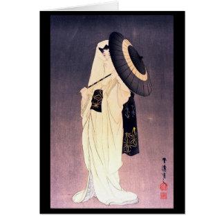 Ukiyo-e Woodblock Kunst - Geisha mit schwarzem Karte