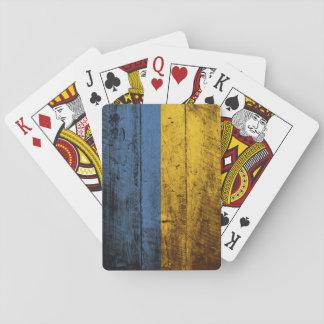 Ukraine-Flagge auf altem hölzernem Korn Spielkarten