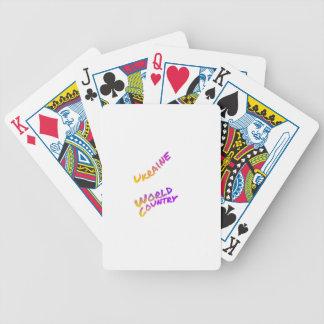Ukraine-Weltland, bunte Textkunst Bicycle Spielkarten